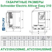 Габаритные размеры Schneider Electric Altivar Easy 310