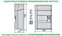 Габаритные размеры преобразователя частоты Schneider Electric Altivar 61 ATV61HC25N4