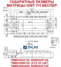 Габаритные размеры матрицы IGBT преобразователя частоты