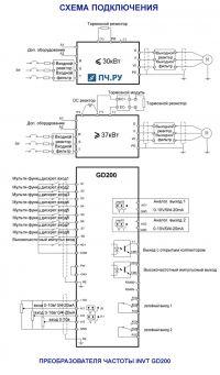 Схема подключения преобразователя частоты INVT GD200