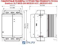 Габаритные размеры УПП Данфосс MCD 201-037-T4-CV1