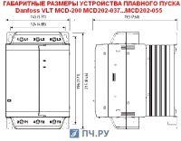 Габаритные размеры УПП Данфосс MCD 202-037-T4-CV3