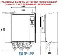 Габаритные размеры УПП Данфосс MCD5-0744B-T5-G4X-00-CV2