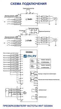 Схема подключения преобразователя частоты GD200A