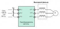 Схема подлючения выходного фильтра dU/dt